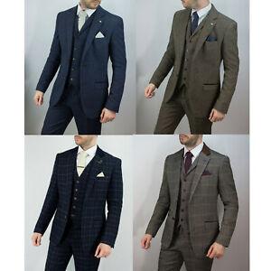 Mens Tweed Check Herringbone Peaky Blinders Wool Navy Tailored Fit 3 Piece Suit