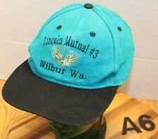 LINCOLN MUTUAL #3 WILBUR WASHINGTON HAT GREEN/BLACK STRAPBACK GUC A6