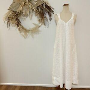 Seed Heritage Woman's White Cotton Midi Dress Size 8 Summer Sleeveless