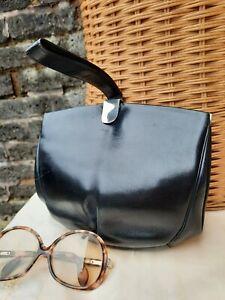 Vtg Original 1920s Art Deco Black Leather Ladies Clutch Wrist Hand Bag. Super.