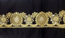 Beautiful Cut Work Gold Bridal Lace Trim Ribbon Sewing Craft Saree Border 1 Yard