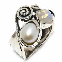 South Sea Pearl, Rainbow Moonstone 925 Sterling Silver Ring Size 8 R-108