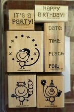 Stampin' Up IT'S A PARTY Set 6 Wood Mounted Rubber Stamps Lot Birthday Monkey