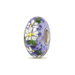 Reflection Beads Sterling Silver Hand Paint Daisy Tell Me True Fenton Glass Bead