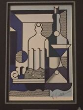 """ROY LICHTENSTEIN HAND SIGNED PHOTO LITHOGRAPH OF """"PURIST PAINTING WITH BOTTLES"""""""