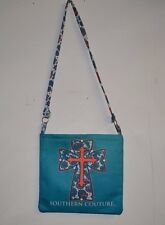 Southern Couture Messenger Bag New Turquoise Cross Design