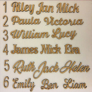 Personalised Script Names Words & Letters  MDF  Wedding Favours Book Art Wooden