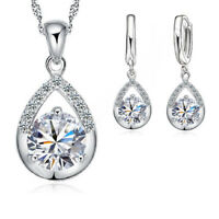 925 Sterling Silver Cubic Zirconia Crystal Necklace Pendant and Earring Set UK