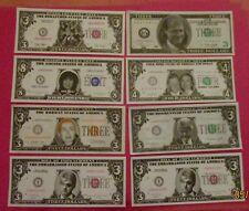 1990's-2001 Bill & Hillary Clinton + a few others - Novelty dollar Bills