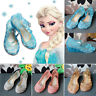 Kid Girls Princess Dress Up Party Solid Facny Sandals Shinny Crystal Jelly Shoes