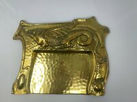 Brass Arts and Crafts crumb tray with dragon feature. c1900-1920 Maker's Mark -