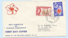 Fiji 1963 First Day Cover Hibiscus Flower #180 & #181 Ceremony Stamp Cachet