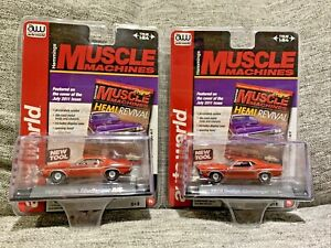 Auto World Hemmings Muscle Machines *LOT OF 2* 1970 DODGE  CHALLENGER  R/T 1:64