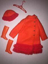 VINTAGE Barbie MOD FIERY FELT 1789 Orange Fringe Coat Hat Boots Hanger