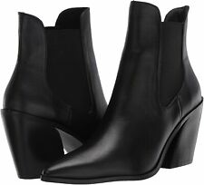 STEVEN by Steve Madden Women's Gail Ankle Boot, Black Leather, Size 7.0 OXLm