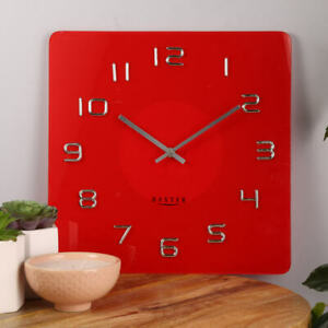 Baxter 35cm 3D NUMERALS RED Wall Clock STEP Movement Square Glass Modern