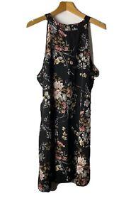Women's Dress Size 2XL Black Floral Halterneck Casual Party