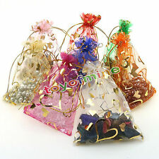 50pcs Organza Sacs de cadeau de mariage Bag Jewellery Pouch Bag Mix 9x12cm