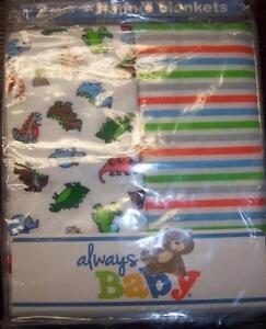 New Boy's 2 Pack Always Baby A Trademark of Gerber Flannel Receiving Blankets