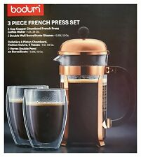 Bodum French Press Chambord Set Kaffebereiter 1L Coffee Maker + 2 Gläsern Pavina