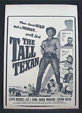 1953 The Tall Texan Old Movie Poster Broadside Lloyd Bridges Lee J Cobb