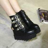 Women Super High Platform Hidden Wedge Buckle Ankle Boots Punk Gothic Shoes New
