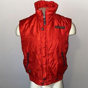 Vtg 80s 90s Ski Jacket Vest DESCENTE snow coat Apres retro shiny Red MENS SMALL
