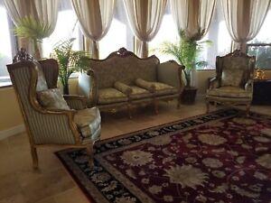 Luxurious Louis XVI Style Living Room Set Giltwood & Silk