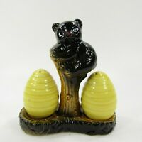 Vintage Salt Pepper Shaker Set Black bear with Bee Hives 3 pc with base   INV298