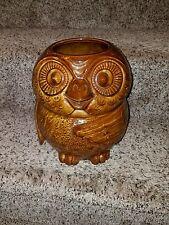 "VINTAGE McCoy #204 woodland 10"" OWL BROWN Cookie Jar treat jar 1970s euc"