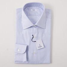 NWT $350 BARBA NAPOLI Sky Blue Stripe Oxford Cotton Dress Shirt 18 x 37