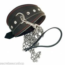 collare bondage con guinzaglio vera pelle leather collar leash black sexy shop