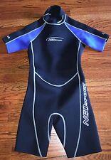 Neosport Shorty Wetsuit Sz 16 Dive Wear 2.5mm Youth Ladies Black Blue Back Zip S