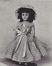 """Vintage Crochet PATTERN to make Doll Clothes Party Dress Hat Bonnet 8"""" DoreenPar"""