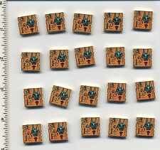 LEGO x 20 Tan Tile 2 x 2 with Map Orange and Hieroglyphs, 40 Pattern Adventurers