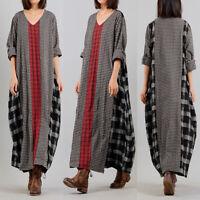 Women V Neck Patchwork Long Shirt Dress Batwing Kaftan Full Length Maxi Dress