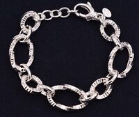 Twisted Textured Oval Link Bracelet Shiny Polished Real 925 Sterling Silver