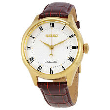 Seiko Automatic White Dial Brown Leather Mens Watch SRP770K1