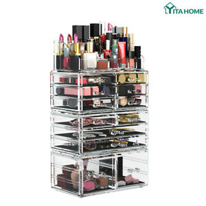 YITAHOME Cosmetic Organizer Makeup Box Drawers Case Jewelry Storage 4 Piece
