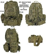 MOLLE - 4PC Highland Camo Backpack /Tactical / Military /Survival Gear/ Day Pack