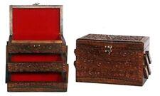 Wooden Jewellery Box DAMAGED Hand Carved 3 Draws Red Velvet Felt Brand New