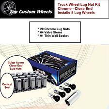 C1709HLX Lug Kit Wheel Close End Chrome Lug Nuts M14x1.5 fit Ram 1500 2012-2017