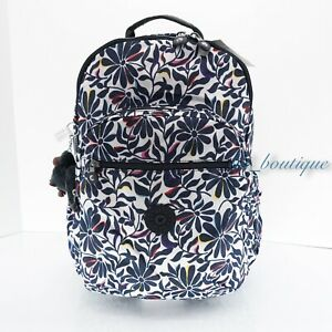 NWT Kipling BP4372 Seoul XL Backpack Laptop Travel Bag Polyester Floral Flourish