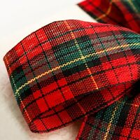 Christmas Ribbon Tying Wreath Rustic Decoration Crafts Scottish Tartan Gift