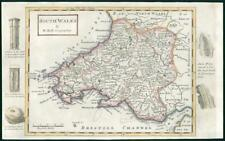 1733 - Rare Antique Map of SOUTH WALES by Herman Moll hand coloured (26)