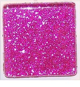 Hot Pink Glitter Glass Mosaic Tiles - 3/8 inch - 50 Tiles - Craft & Art