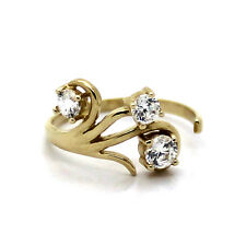 14K Yellow Gold Adjustable Toe Ring Twisted Floral with 3.5-5mm Cubic Zirconia