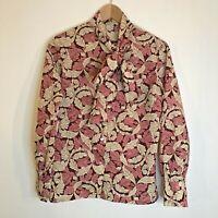 "Vintage Blouse Top UK 14 Pink Cream Leaf Pattern Long Sleeves Chest 36"""