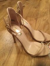Ladies Nude Faux Suede Strappy High Heels Size 7 / 40.5 Ladies Shoes BNWT NEW
