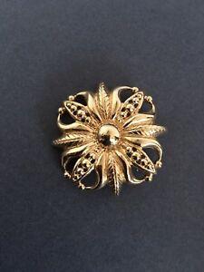 VINTAGE MONET BROOCH PIN PENDANT GOLD TONE CLASSIC DESIGN